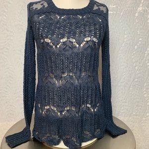 American Rag Open Knit Lace Sweater-Navy Blue